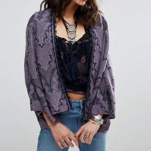 Free People Butterfly Fringe Trim Kimono in Purple